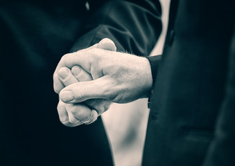 Two Married Men Holding Hands - Lightly Toned