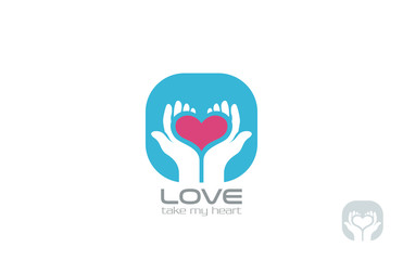 Hands holding Heart Logo design vector. Take my Love