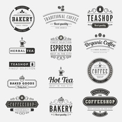 Coffee Retro Vintage Labels Logo design typography