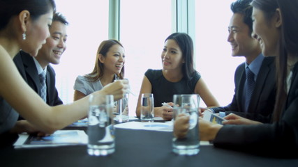 Boardroom Meeting Successful Asian Chinese Business People