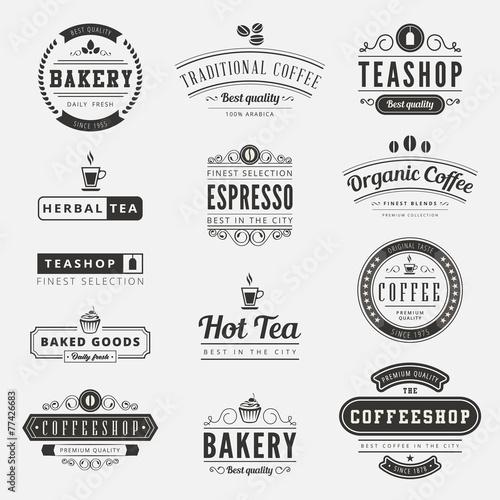 Zdjęcia na płótnie, fototapety, obrazy : Coffee Retro Vintage Labels Logo design typography