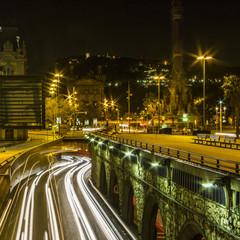 Spain, Catalunya, Barcelona, Urban light trails