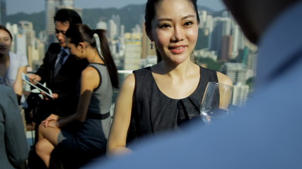 Outdoors Rooftop Meeting Multi Ethnic Advertising Partners