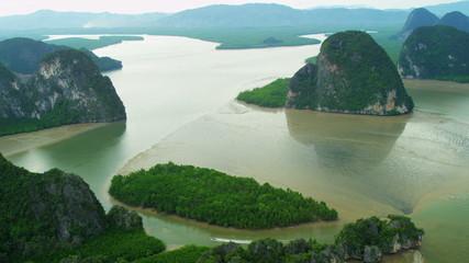Aerial view Phang nga bay limestone Karsts, Thailand,