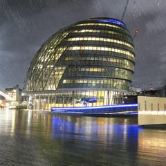 United Kingdom, London, City Hall during rain at night