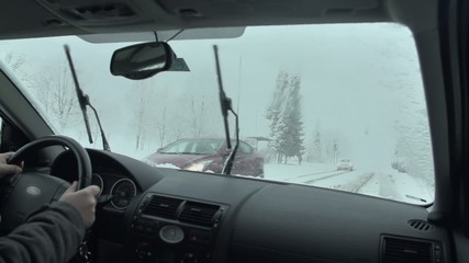 Travelling on a country road in bad weather