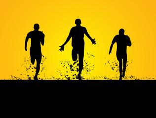 3 men running on the field