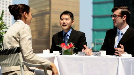 Multi Ethnic Group Business People Meeting Rooftop Restaurant