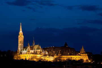 Hungary, Budapest, Matthias Church illuminated at night