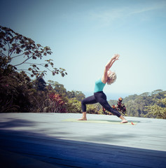 Costa Rica, Woman practicing yoga