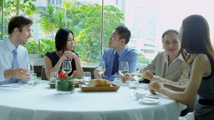 Ambitious Multi Ethnic Advertising Executives Restaurant