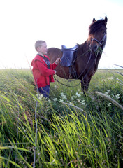 Portrait of boy and horse