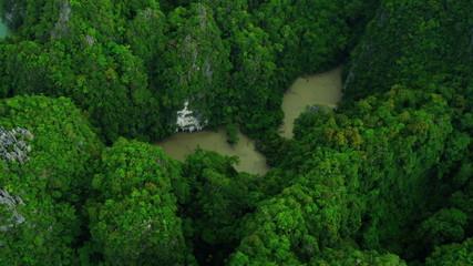 Aerial view limestone cliffs in Phang Nga Bay, Thailand