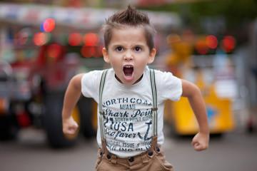 Bulgaria, Little boy (4-5) roaring