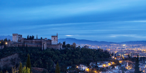 Spain, Granada, View of Alhambra at dusk