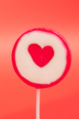 Lollipop with heart shape in centre