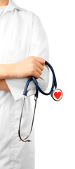 Stethoscope with heart in doctor hands, isolated on white