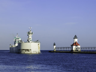 USA, Michigan, St. Joseph, Lake freighter approaching port