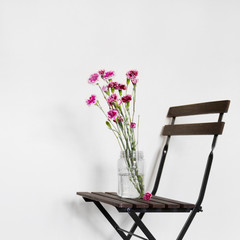 Picture of flowers on top of chair