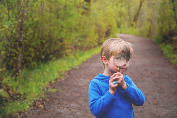 Boy (4-5) looking through magnifying glass on nature trail