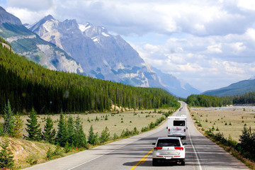 Canada, British Columbia, Cars on Trans Canada Highway