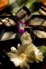 Spa ingredients presented with flowers