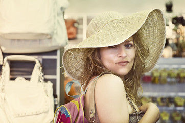 Portrait of woman on shopping spree
