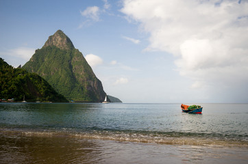 Saint Lucia, Petit Piton seen from Soufriere Bay