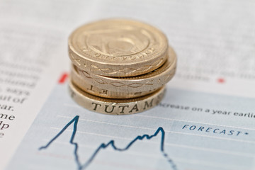 Pound Coins On Financial Forecast