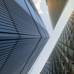 UK, England, London, Low angle view of office buildings