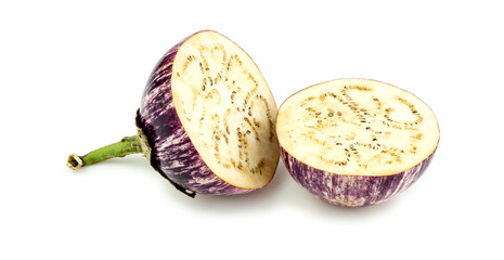 Halved thai asian eggplant studio on white