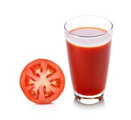 Fresh tomato juice isolated on white background
