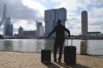 Netherlands, Rotterdam, Man arriving into city