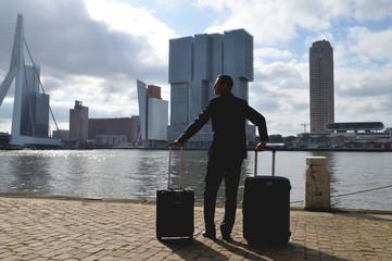 Netherlands, Rotterdam, Man arriving into city
