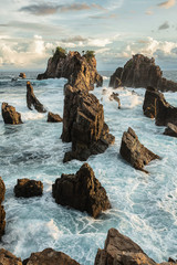 Indonesia, Lampung, Majestic rocks in sea