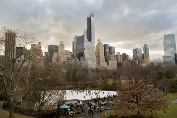USA, New York State, New York City, Ice rink in Central Park