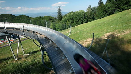 extreme sport activity with bobsled in the pure nature on a sunny day