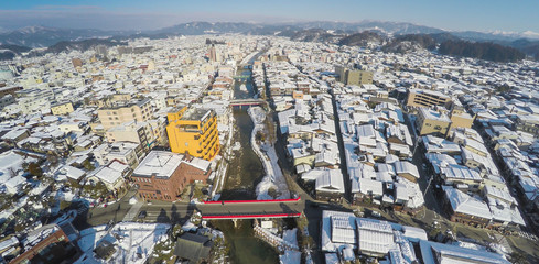 Bird eyes view of Takayama, Japan in winter