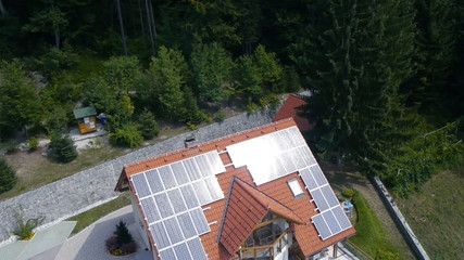 Shot of a solar panled on the roof made from sky