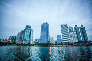 Bangkok Cityscape at twilight, Park in the City