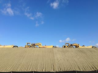 Tractors at construction site