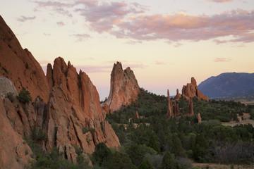 USA, Colorado, El Paso County, Colorado Springs, landscape with rocks and forest