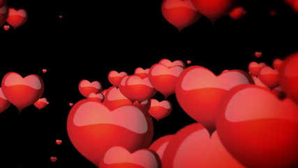 Floating hearts on black background animation for Valentine's day