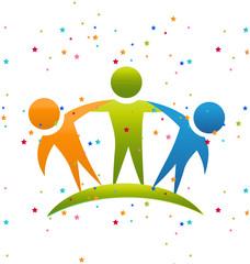Happy people friendship concept logo vector
