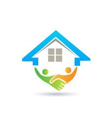 House handshake business vector logo