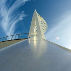United Kingdom, England, Hampshire, Portsmouth, Upward view of Spinnaker Tower against sky