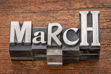 March word in metal type