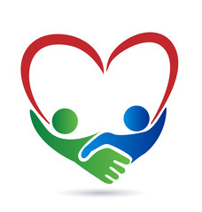 Logo handshake heart union concept vector icon