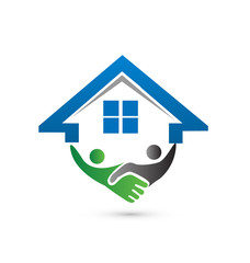 House and handshaking vector logo concept of closing a successf