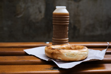 Boza and bagel on wooden table